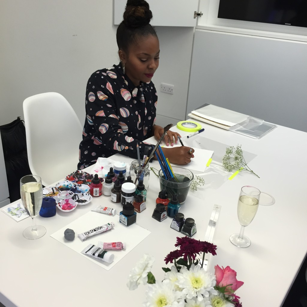 Illustrator Kris Keys at Spectrum beauty launch event