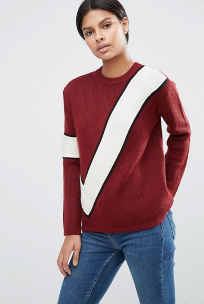 Red ASOS jumper with diagonal stripe