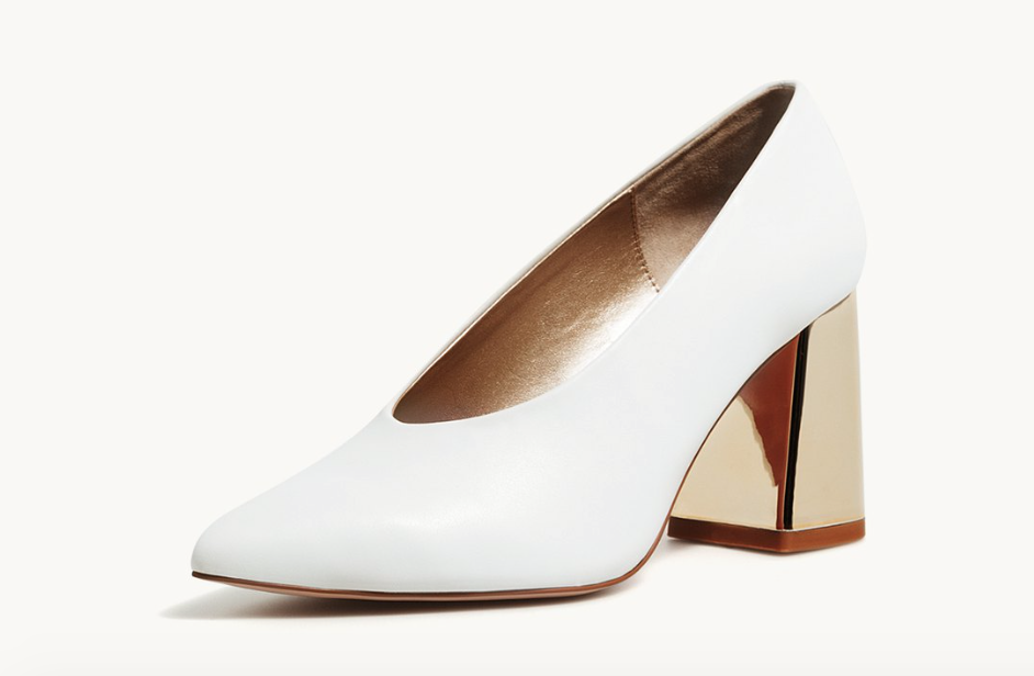 Stradivarius white shoes with gold heel