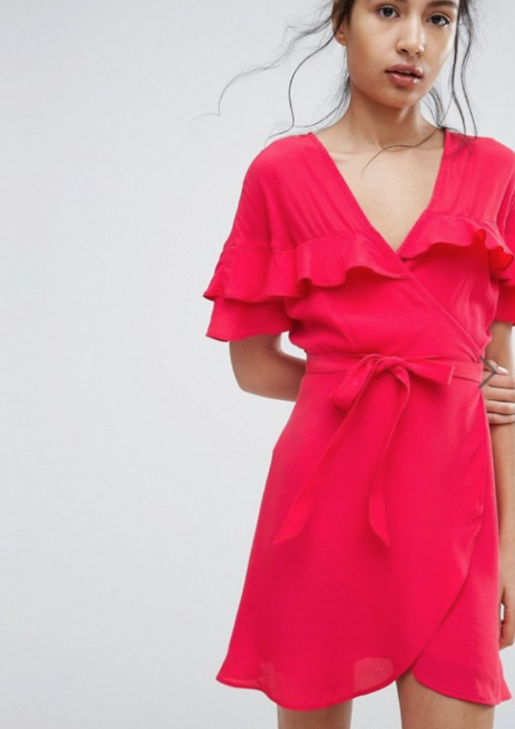 ASOS Bershka coral wrap dress