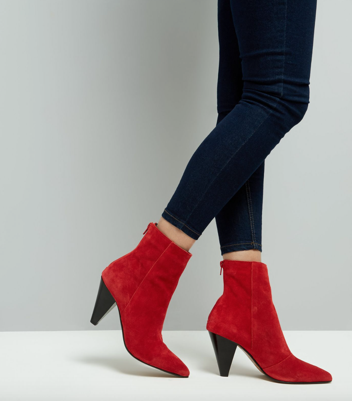 New Look red suede boots