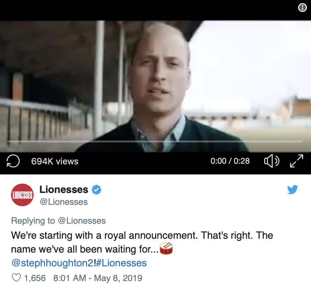 Lionesses announcement Prince William PR campaign